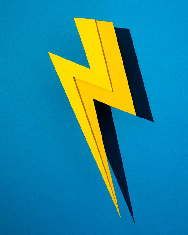 Alex Foxley - Image of a yellow lighting bolt on a bright blue background