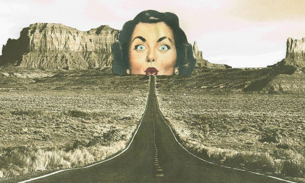 Sophie Moats - Collage image of a ladies face at the end of a mountain