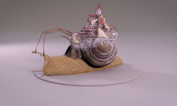 Nick Rollason - 3D render by Nick Rollason depicts computer generated snap with city carved into shell and crane structure chained to antennae