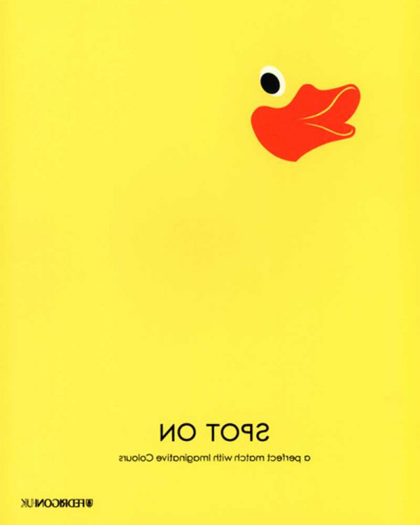 Becki Turner - Image of a duck's beak and eyes against a yellow background as promotion for Fedrigoni papers