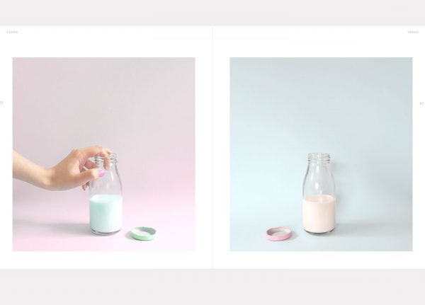 Krystal Loh - Image of two photographs of a milk bottle filled with milk