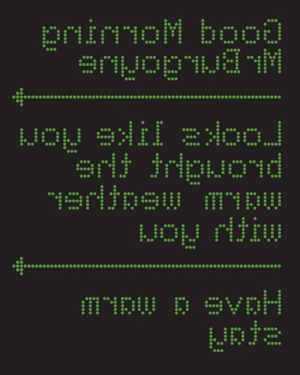 Jack Hone - Image of a black screen featuring text instructions in green lettering designed for Holiday Inn Project brief