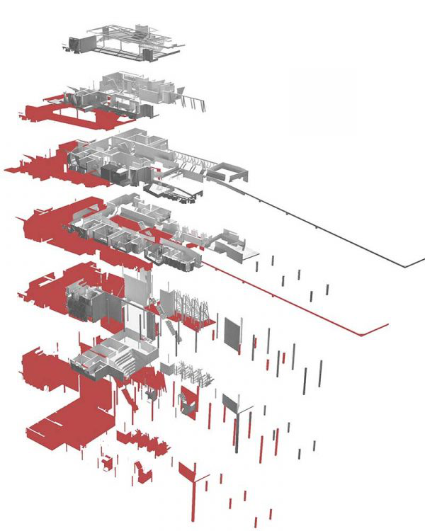James Potter - Digital image of a designed floor plan which is coloured red and grey, the floor plan is split into