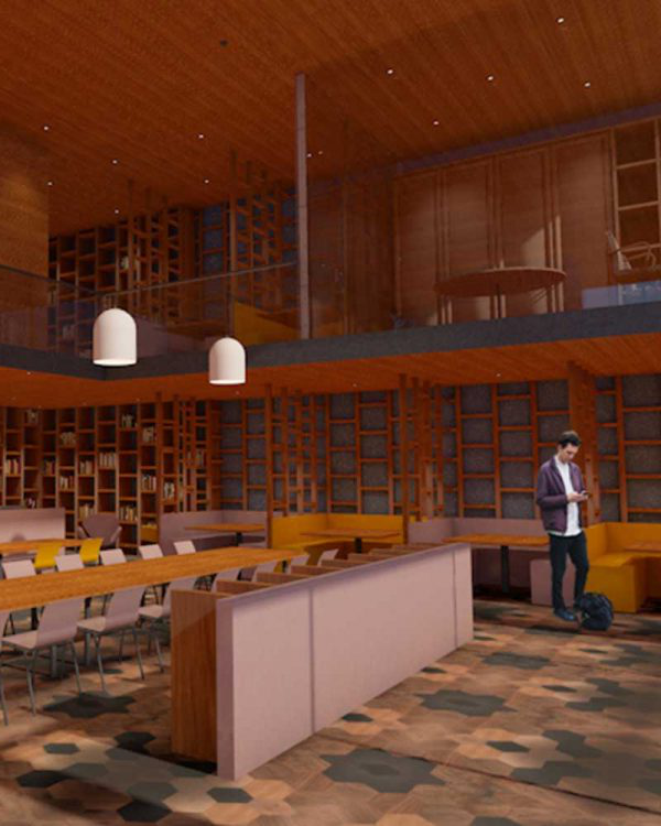 Leonor Peixoto - Image of a designed restuarant interior featuring seating and hanging lighting