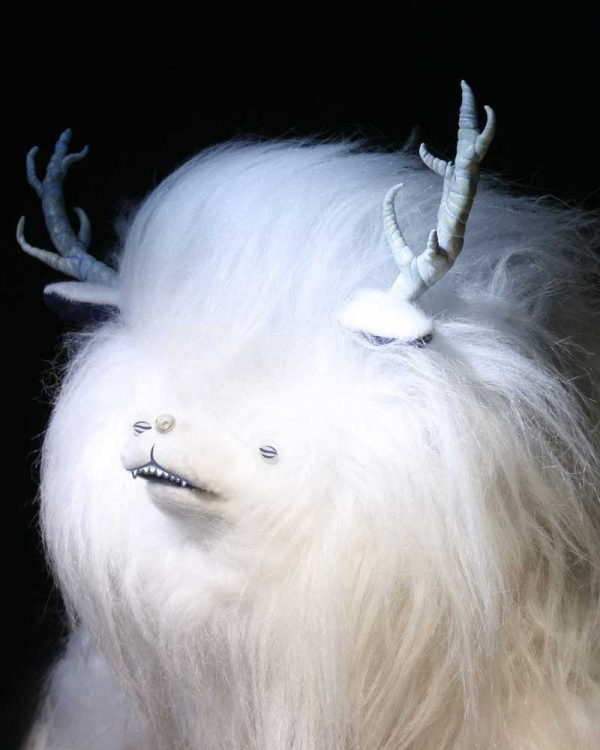 Steph Dulieu - Image of a white flurry stop motion beast character used in NUA graduate work by Steph Duliei