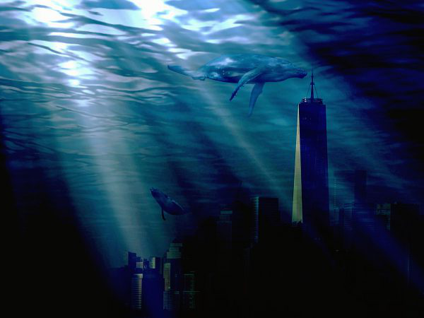 Kyle Kingsman - Image of a whale swimming in an underwater city