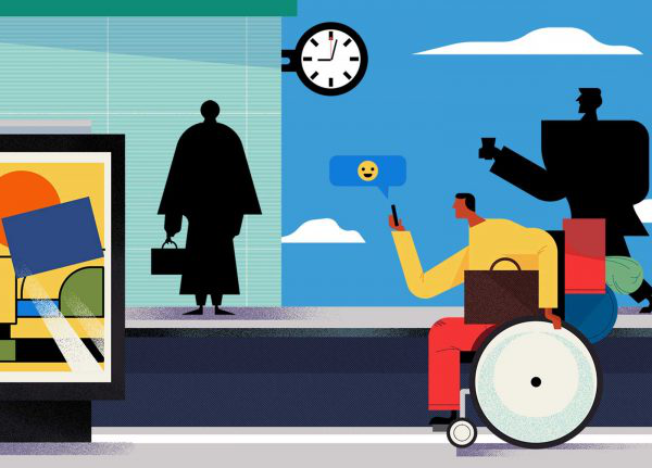 Adam Avery - Illustration of a man in a wheelchair looking at his phone waiting at a train station by Adam Avery