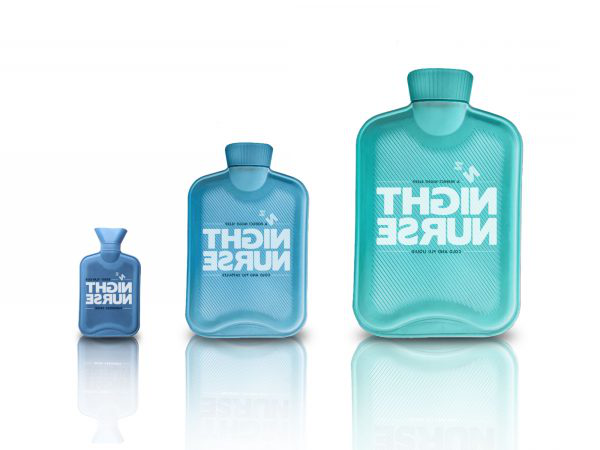 Chloe Joyce - Image of three hot water bottles with the typography Night Nurse on the front of the hot water bottles
