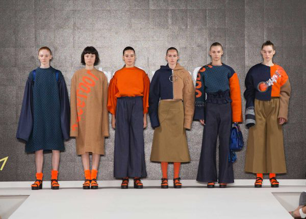 Daisy Clarke - Image of an orange and denim catwalk collection by NUA Fashion student Daisy Clarke