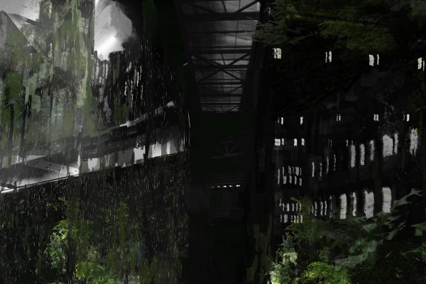 Sam Wilson - Dark green and black abstract illustration alluding to dark buildings and foliage