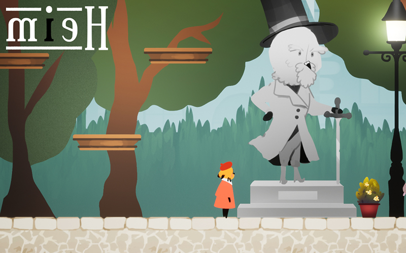 Still from a game showing a 2D tree next to a stone statue 和 a small figure in an orange coat