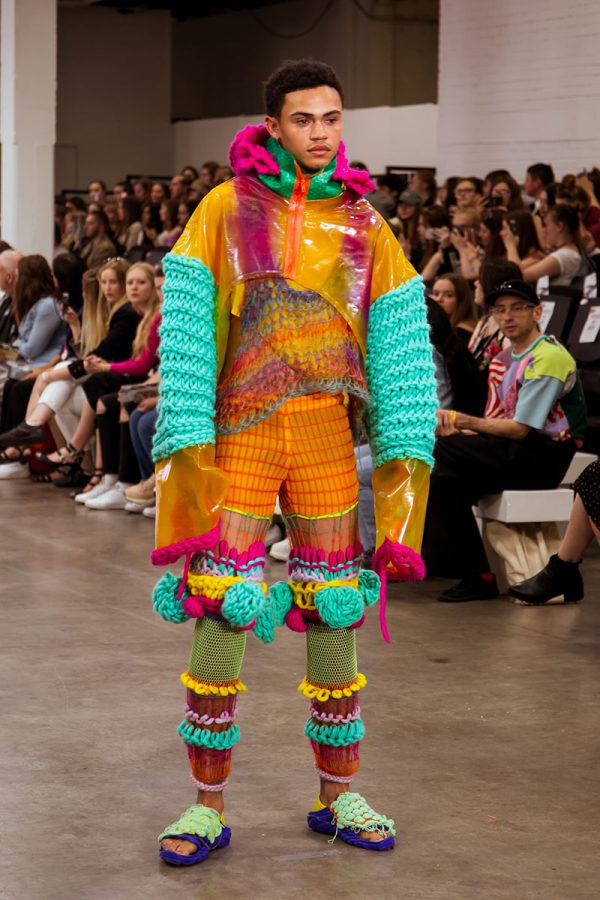 Phoebe Constable - A brightly coloured outfit made from bio-plastics by Phoebe Constable of BA Fashion at 澳彩网彩票, modelled on a catwalk at Graduate Fashion Week