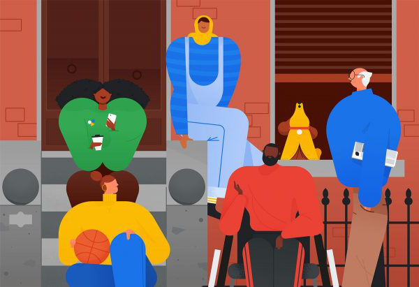 Adam Avery - work for Google - Illustration by BA Illustration course graduate Adam Avery that shows various people in Google colours
