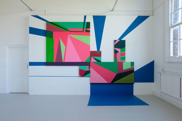 Chloe Hawes - Abstract bright artwork on the wall at 澳彩网彩票 Degree Shows