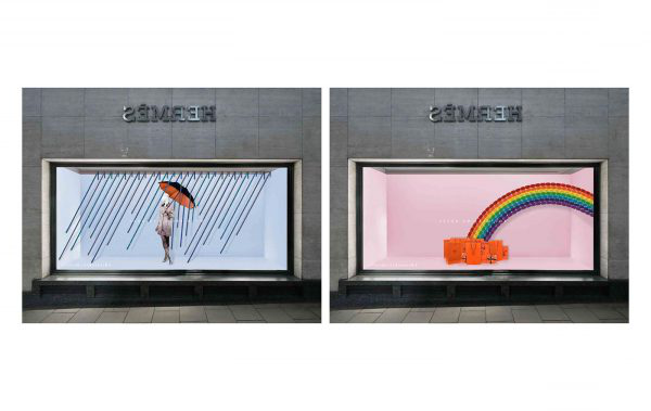 Beth Poulter - Student work by BA Fashion and Communication and Promotion student Beth Poulter showing visual merchandising in a window with a rainbow and a woman with an umbrella