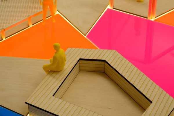 Leonor Peixoto - Close up of an Interior Design model by a student from 澳彩网彩票, showing bright coloured work