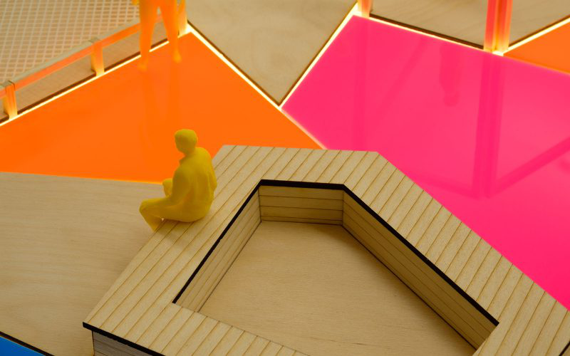 Close up of an Interior Design model by a student from 澳彩网彩票, showing bright coloured work