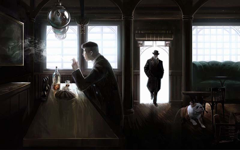 Illustration depicting a dark room with bright windows and the silhouettes of a man sat at a bar 和 stood in the doorway