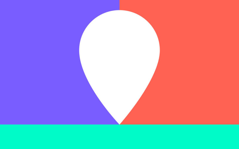 New Geographies colourful logo showing red, purple and green with a location icon