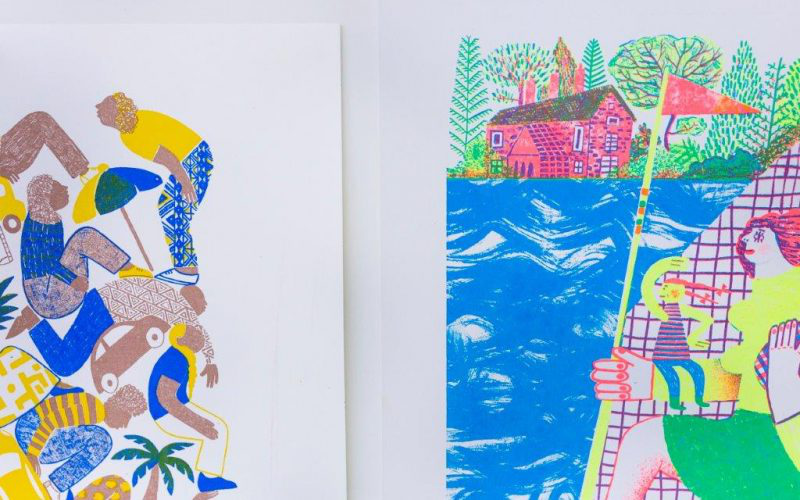 Brightly coloured prints from the 诺 BA Illustration studio