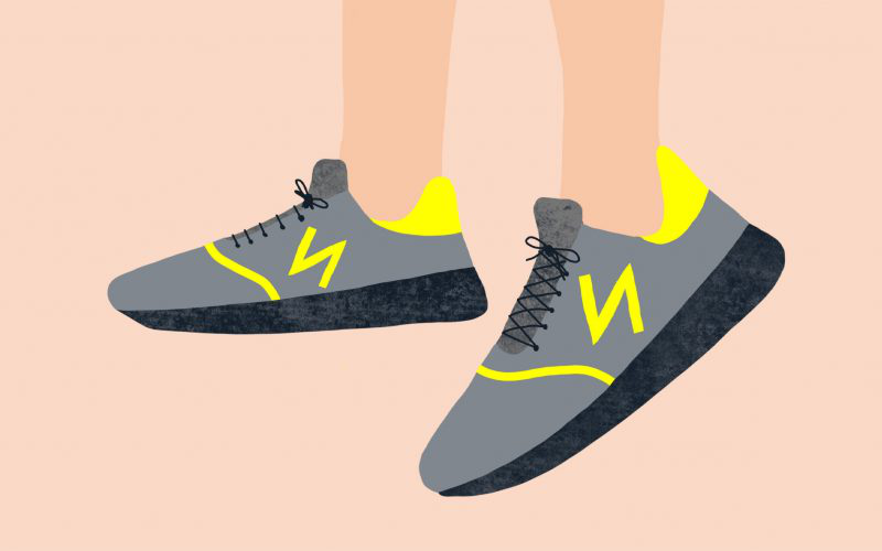 Illustration by MA Communication Design student Charlotte Johnston showing trainers with a yellow N on