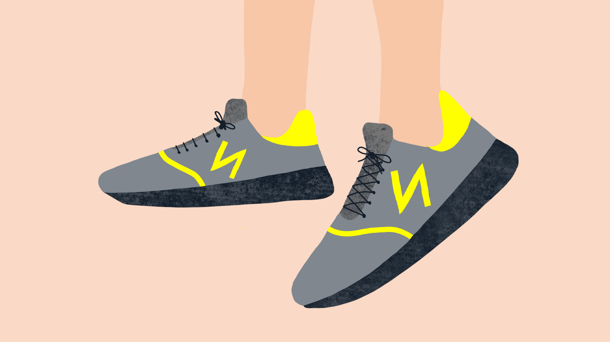 Illustration by MA通信设计 student Charlotte Johnston showing trainers with a yellow N on