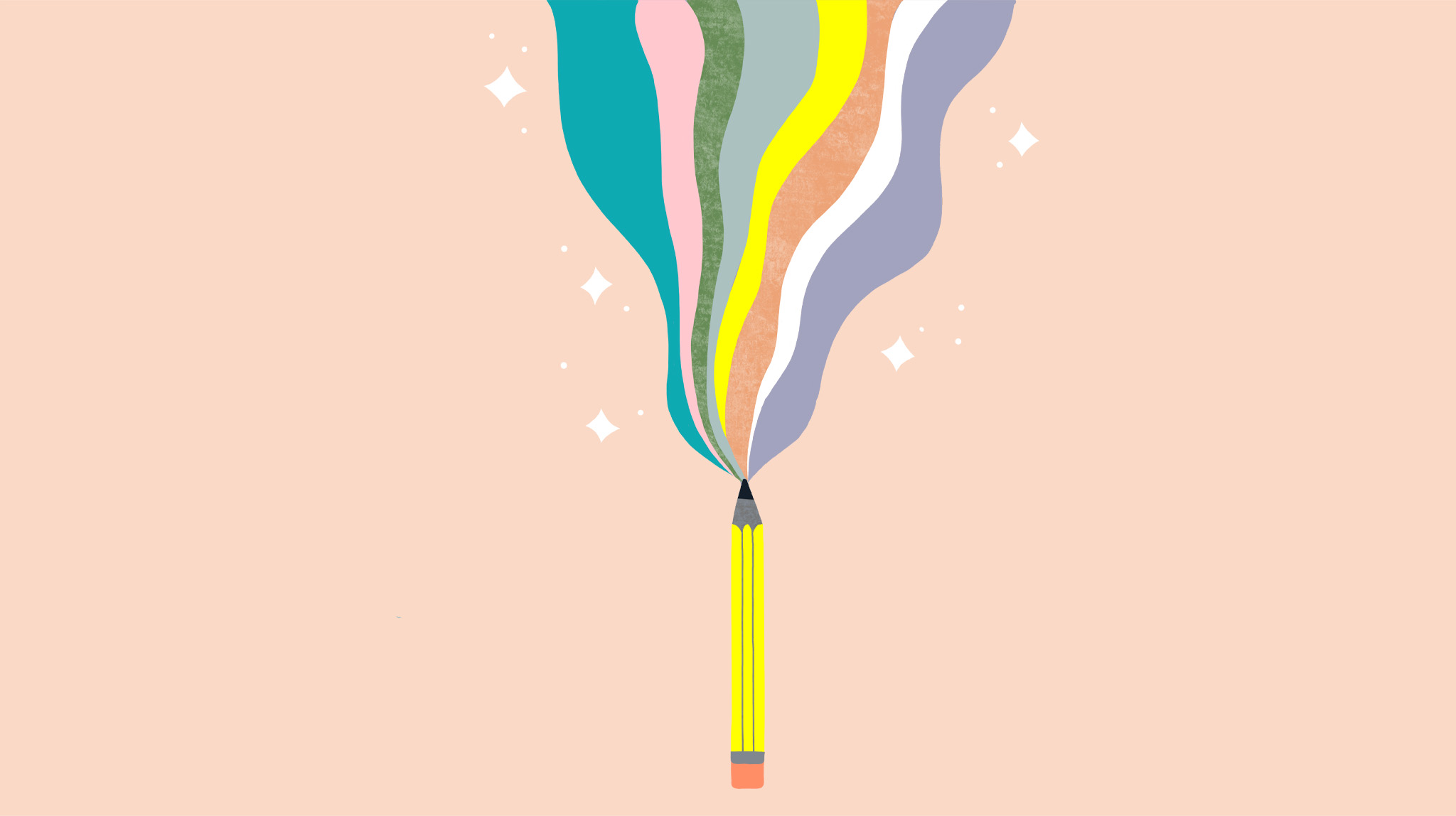 Blog illustration showing a pencil and rainbows