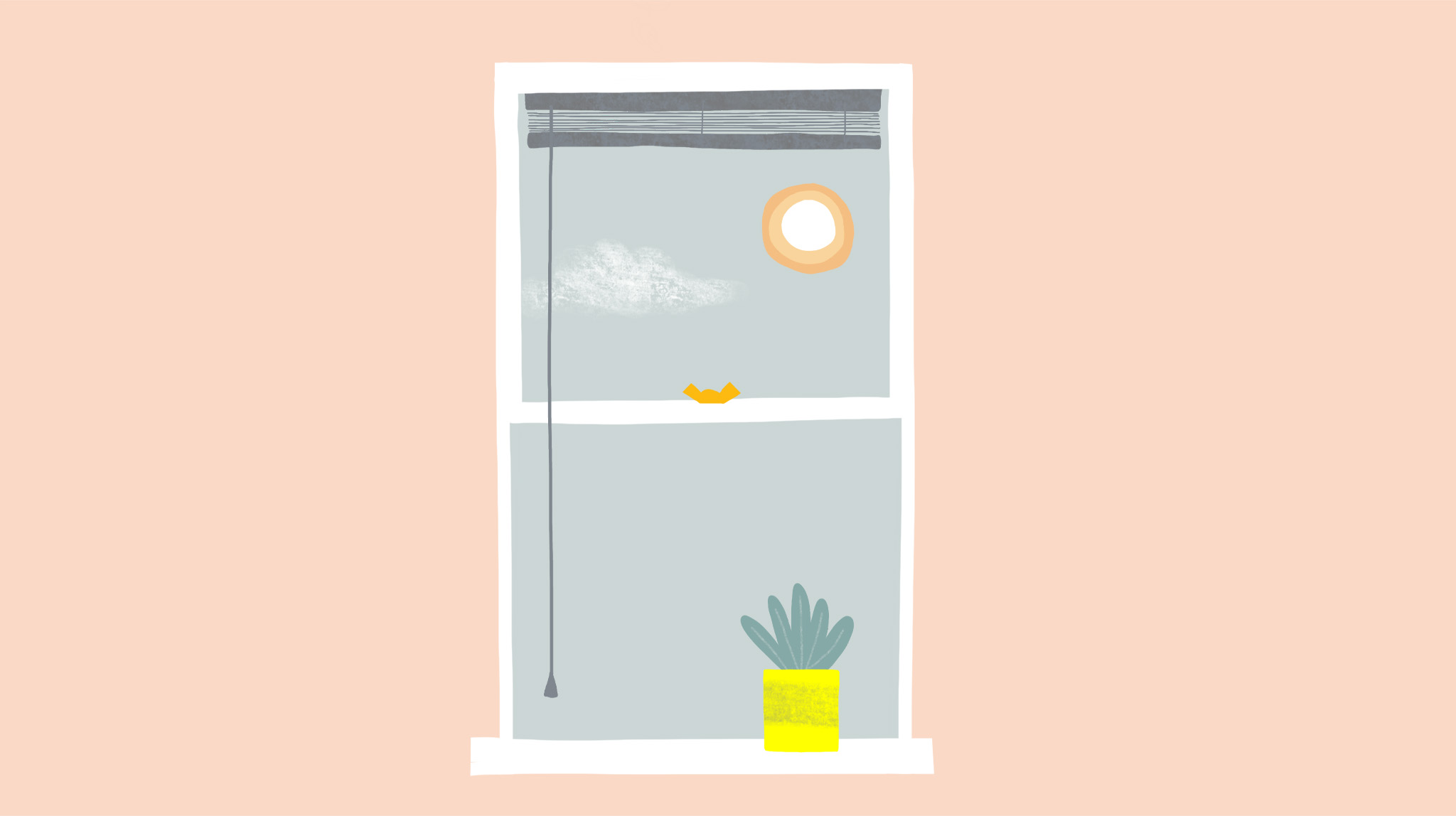 Illustration by MA通信设计 student Charlotte Johnston of a window with a plant