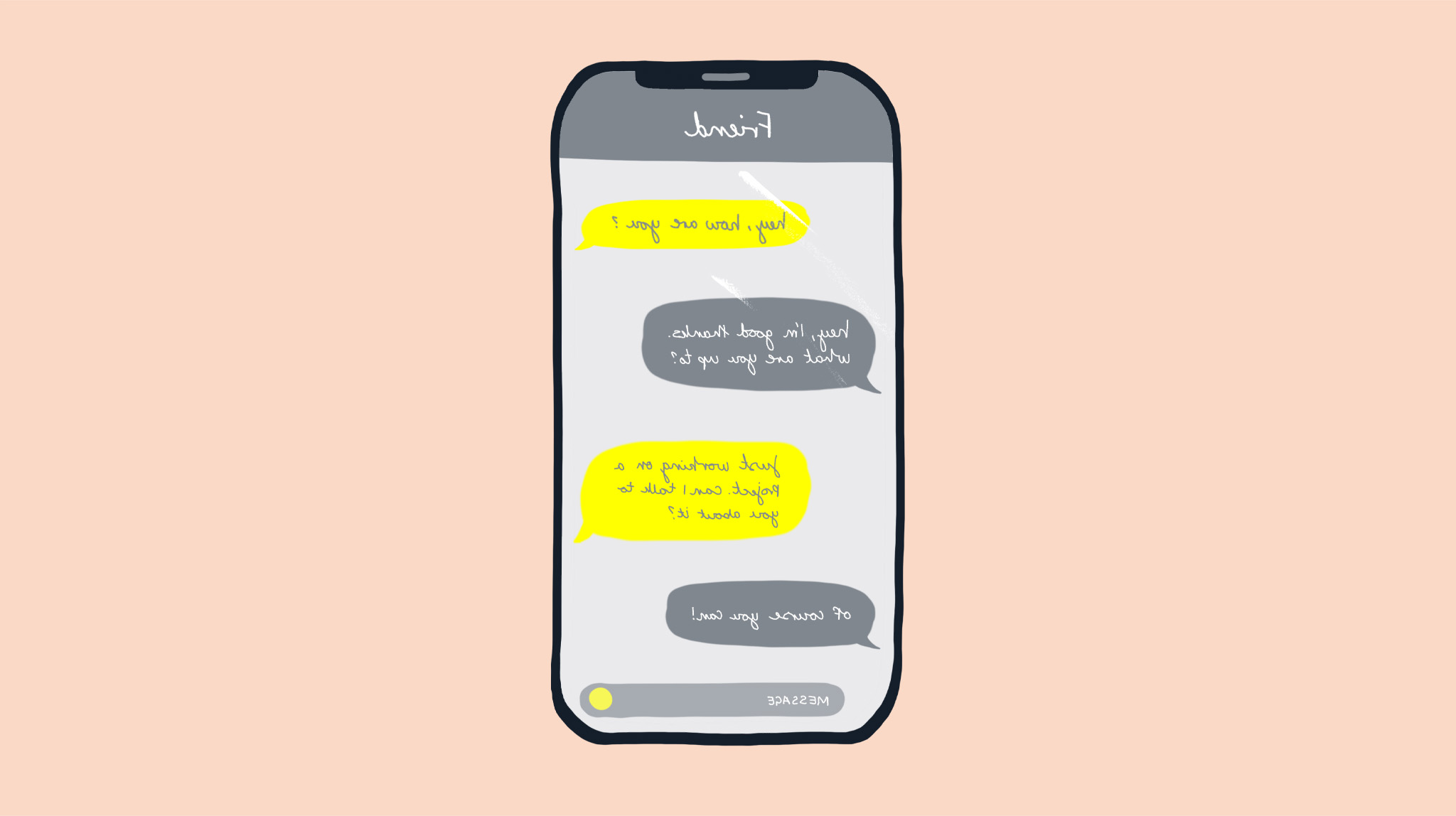 An illustration of a phone and a conversation by MA通信设计 student Charlotte Johnston