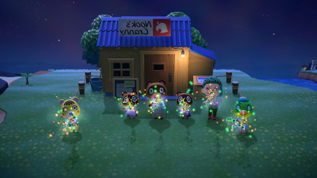 保护动物 screencap showing happy characters outside a hut in the field with lights