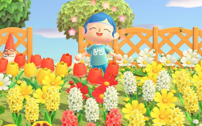 Animal Crossing screencap showing a happy character with blue hair standing in multi coloured flowers