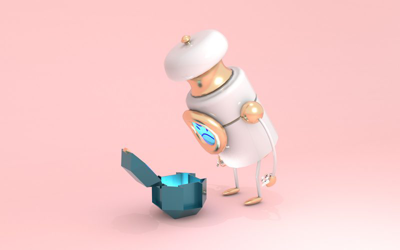 Animation artwork by BA Animation student Charles Breach showing a salt shaker character